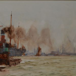 CHARLES DIXON-WATERCOLOUR-SHIPPING OFF TILBURY