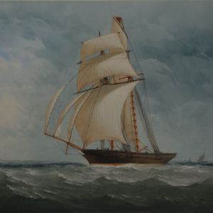 CHARLES TAYLOR WATERCOLOUR MARINE SCHOONER SHIP