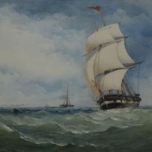 CHARLES TAYLOR WATERCOLOUR MARINE SHIP