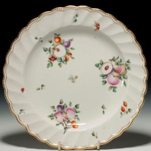 ANTIQUE CHELSEA DERBY PORCELAIN PLATE PAINTED FRUIT