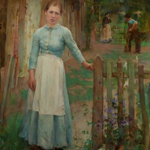 CIRCLE OF GEORGE CLAUSEN-OIL PAINTING-GIRL AT THE GATE
