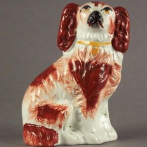 ANTIQUE STAFFORDSHIRE FIGURE RED & WHITE COMFORTER DOG