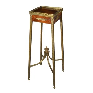 ANTIQUE FRENCH GILT BRONZE & TULIPWOOD URN STAND