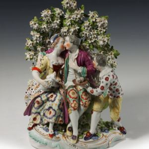 ANTIQUE DERBY PORCELAIN GROUP ISABELLA GALLANT AND JESTER