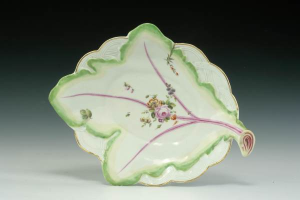 ANTIQUE DERBY PORCELAIN LEAF DISH PAINTED FLOWERS