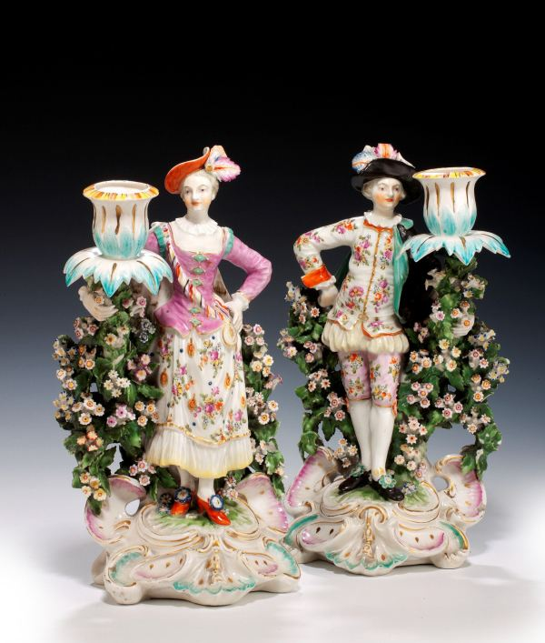 ANTIQUE PAIR DERBY PORCELAIN RANELAGH DANCERS CANDLE HOLDERS