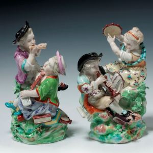 ANTIQUE PAIR DERBY PORCELAIN FIGURAL GROUPS OF CHILDREN
