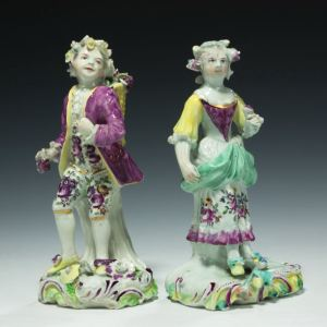ANTIQUE PAIR DERBY PORCELAIN FIGURES VINTNER AND COMPANION
