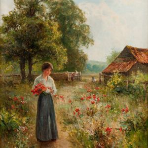 ERNEST WALBOURN-OIL PAINTING-GATHERING FLOWERS