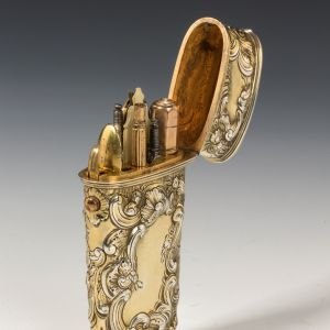 ANTIQUE SILVER GILT ETUI WITH TOOLS