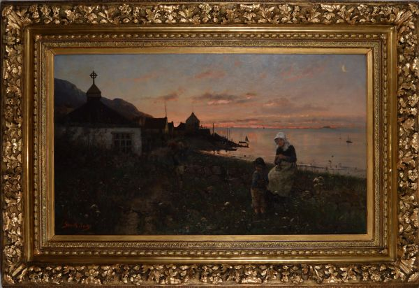 Frithjof-Smith-Hald-oil-painting-Norwegian-fjiord-sunset-woman-child-antique-19th-centu