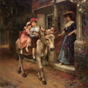 GEORGE SHERIDAN KNOWLES-OIL PAINTING-CHILDREN ON DONKEY