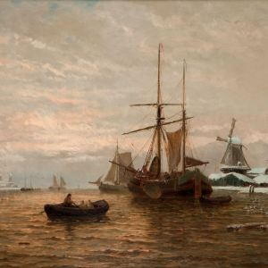 GEORGE STANFIELD WALTERS-OIL PAINTING-WINTERTIME ON THE MAAS