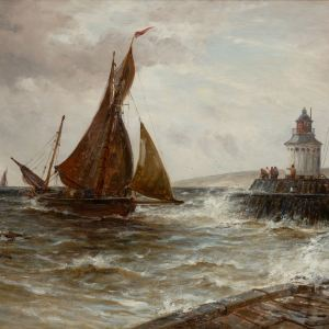 GUSTAVE DE BREANSKI-OIL PAINTING-FISHING BOATS LOWESTOFT
