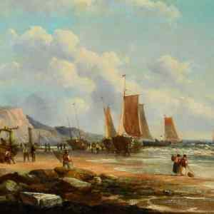 JOHN JAMES WILSON OIL PAINTING MARINE FISHING BOATS