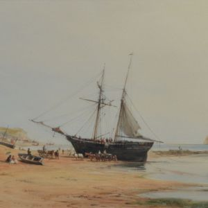 JOHN THORPE WATERCOLOUR MARINE COASTAL BEACH SHIP HASTINGS