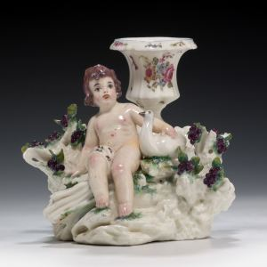 ANTIQUE MENNECY PORCELAIN GROUP WITH BOY AND BIRD