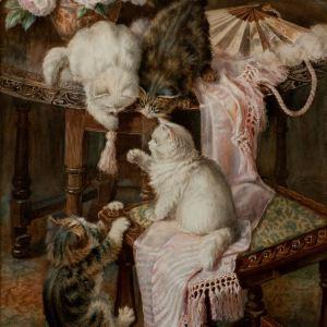 MINNIE ROSA BEBB WATERCOLOUR CATS KITTENS PAINTING