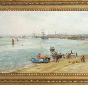 CHARLES W WYLLIE-OIL PAINTING-PORTSMOUTH HARBOUR