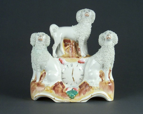 ANTIQUE STAFFORDSHIRE FIGURE THREE POODLES & CLOCK FACE