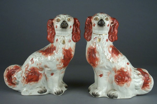 ANTIQUE STAFFORDSHIRE FIGURES OF RED & WHITE SPANIELS