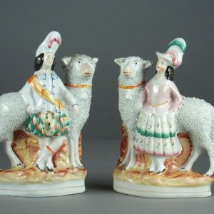 ANTIQUE STAFFORDSHIRE FIGURES OF LARGE SHEEP & CHILDREN