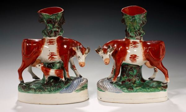 PAIR ANTIQUE STAFFORDSHIRE FIGURES OF COWS
