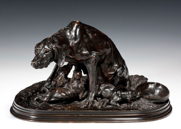PIERRE JULES MENE ANTIQUE BRONZE POINTER BITCH PUPS