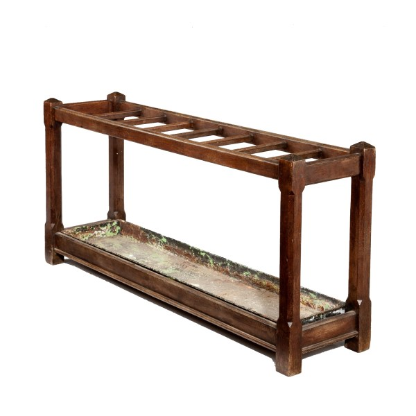 ANTIQUE EDWARDIAN OAK COUNTRY HOUSE STICK STAND