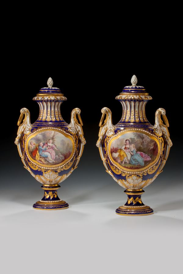 ANTIQUE PAIR OF PORCELAIN SEVRES STYLE PAINTED VASES