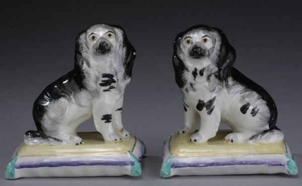 PAIR ANTIQUE STAFFORDSHIRE FIGURES OF SPANIELS