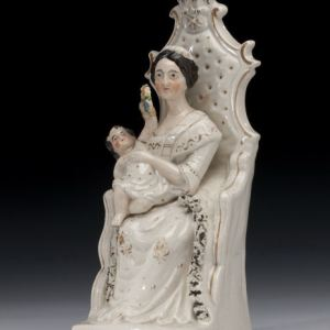ANTIQUE STAFFORDSHIRE FIGURE OF EMPRESS EUGENIE AND PRINCE IMPERIAL