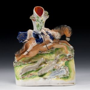 ANTIQUE STAFFORDSHIRE FIGURE OF MAZEPPA ON A HORSE