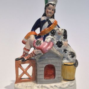 ANTIQUE STAFFORDSHIRE FIGURE OF A BOY AND DOG FOR SALE