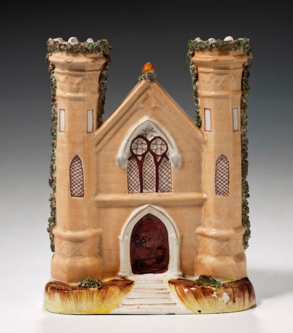 ANTIQUE STAFFORDSHIRE FIGURE OF A CHURCH FRONT