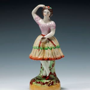 ANTIQUE STAFFORDSHIRE FIGURE OF THE DANCER COLUMBINE