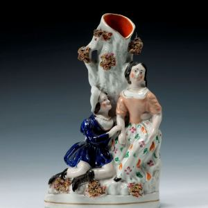ANTIQUE STAFFORDSHIRE FIGURE OF ROMEO AND JULIET