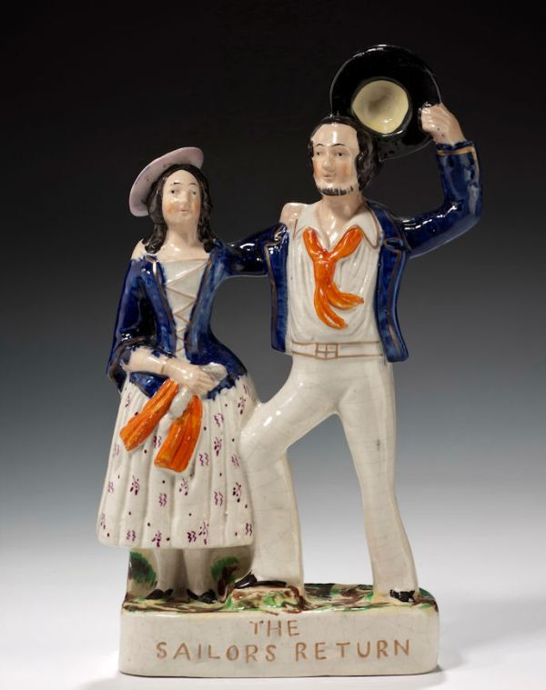 ANTIQUE STAFFORDSHIRE FIGURE OF THE SAILORS RETURN