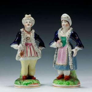 ANTIQUE STAFFORDSHIRE FIGURES OF SELIM AND ZULEIKA