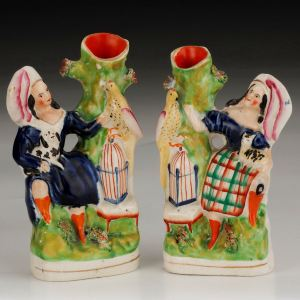 PAIR ANTIQUE STAFFORDSHIRE FIGURES OF CHILDREN
