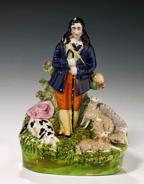 ANTIQUE STAFFORDSHIRE FIGURE OF A SHEPHERD