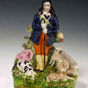 ANTIQUE STAFFORDSHIRE FIGURE OF A SHEPHERD