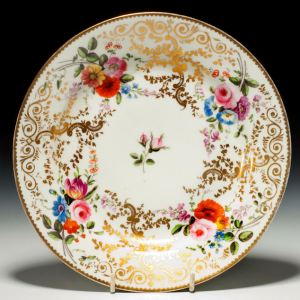 ANTIQUE SWANSEA PORCELAIN PLATE PAINTED FLOWERS