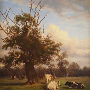 THOMAS BAKER OF LEAMINGTON OIL PAINTING LANDSCAPE TREE