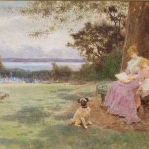 THOMAS JAMES LLOYD WATERCOLOUR GARDEN WOMAN CHILD DOG