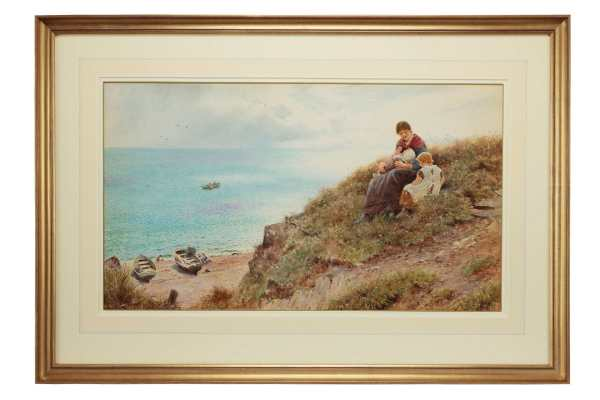 Thomas-James-Lloyd-watercolour-landscape-sea-woman-children-antique-3429_1_3429