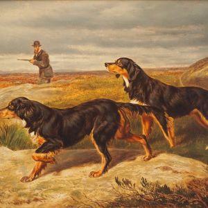 WILLIAM HENRY HOPKINS OIL PAINTING DOGS GORDON SETTERS