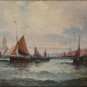 WILLIAM THORNLEY-OIL PAINTING-MARINE LEAVING HARBOUR