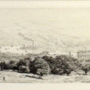 WILLIAM LIONEL WYLLIE-ETCHING-ROYAL NAVAL HOSPITAL GREENWICH