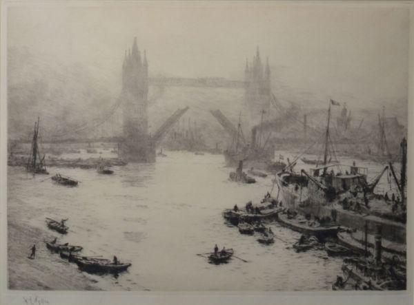 WILLIAM LIONEL WYLLIE - ETCHING - BUTLER WHARF TOWER BRIDGE